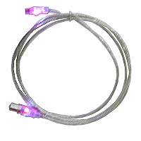 USB Cable Type A to B 6' Illuminated with LEDs at both ends - blinks blue