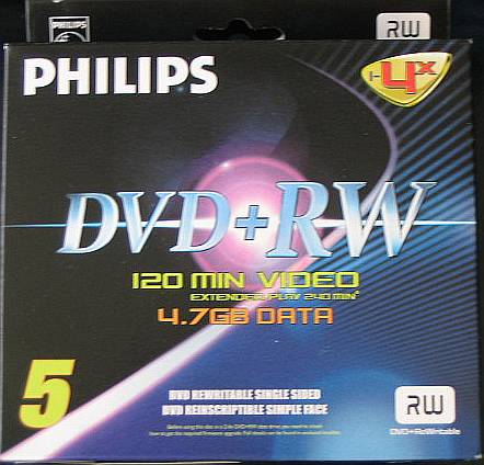 Philips 4x 4.7GB DVD+RW 5pc.