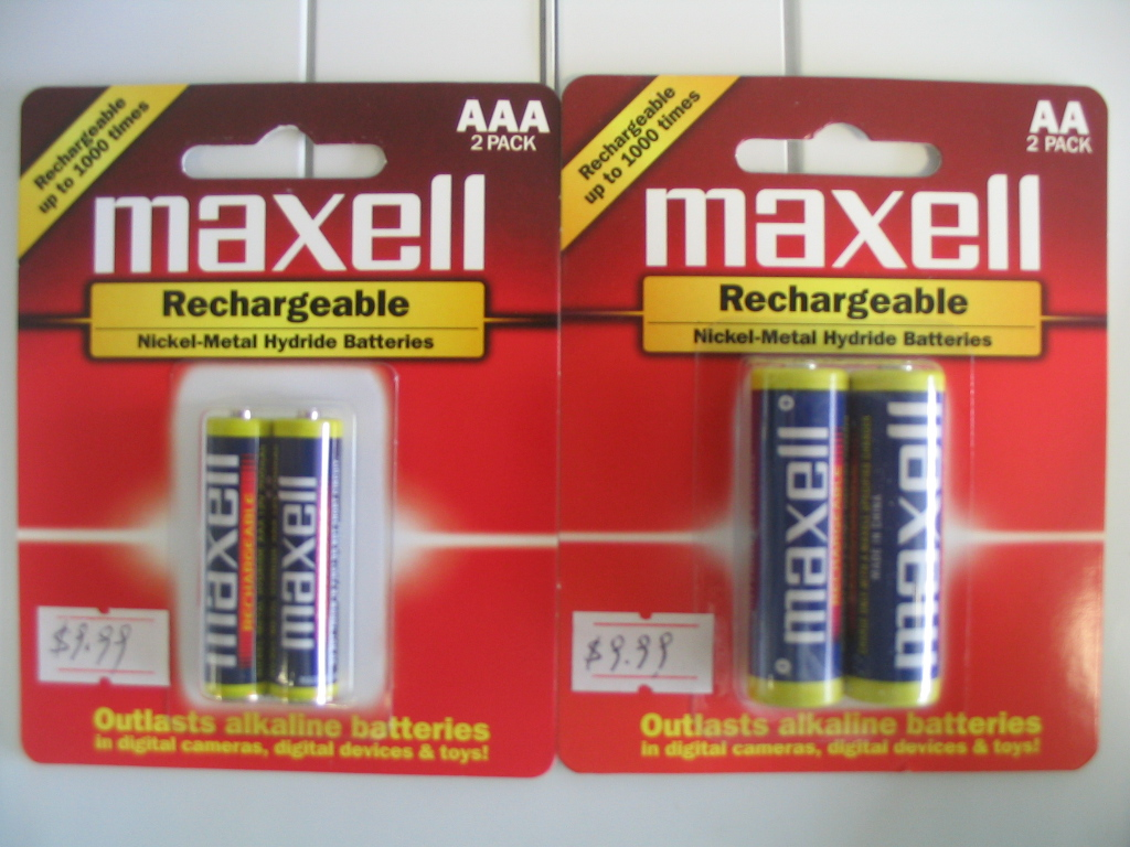 MAXELL RECHARGEABLE AA, AAA BATTERIES